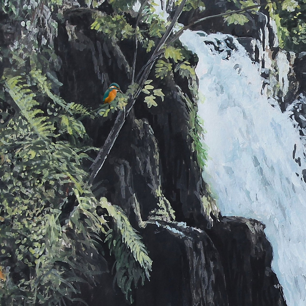 Waterfall and Bird